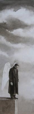 Les ailes ..., encre/papier, 65cm x 13cm, coll part.