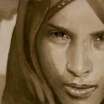 jeune fille, encre/papier, 40cm x 15 cm