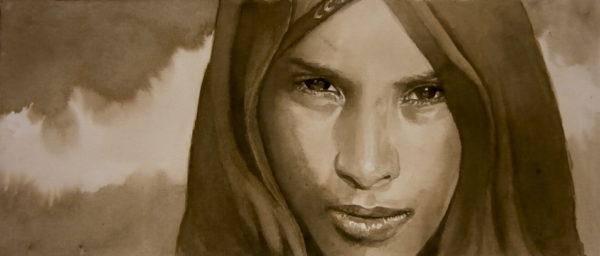 jeune fille, encre/papier, 40cm x 15 cm, coll part.